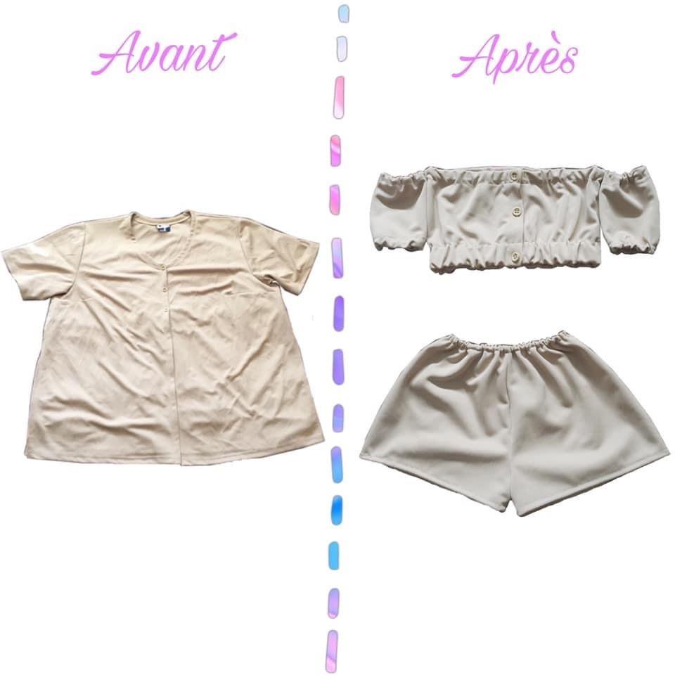 #retouch #vetements #vetementfemme #clothes #couture #coutureaddict #creative #creation #transformation #beforeafter #beforeandafter #chemise #ensemble #croptop #short