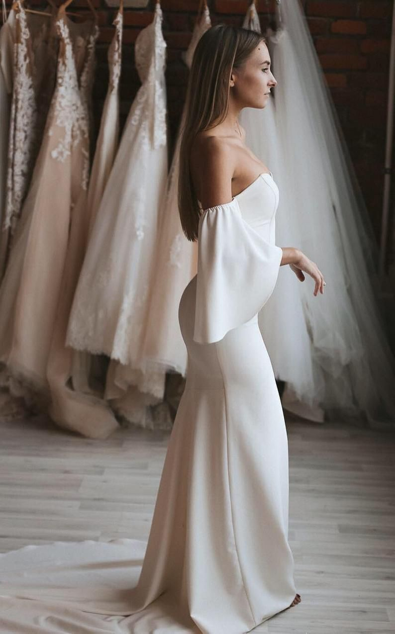 Unique Simple Wedding Dress With Sleeves Off The Shoulder Etsy Simple Wedding Dress With Sleeves Wedding Dress Long Sleeve Wedding Dresses Simple
