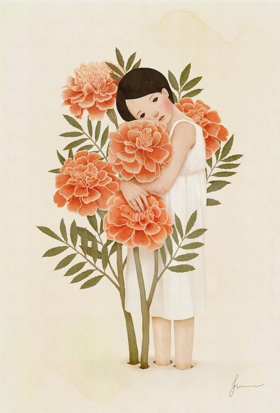 Sweet Korean Drawings Art, Illustration art, Korean painting