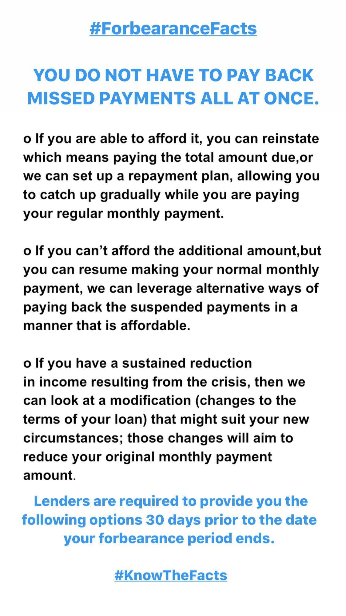 Forbearance Facts You Do Not Have To Pay Back Missed Payments All At Once Facts Promote Your Business How To Plan