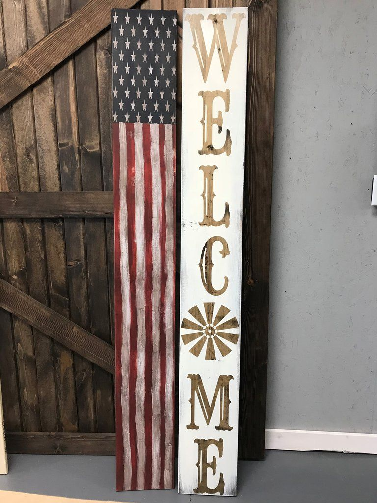 Reversible Porch Sign, Welcome Sign, USA Flag Porch Sign ...