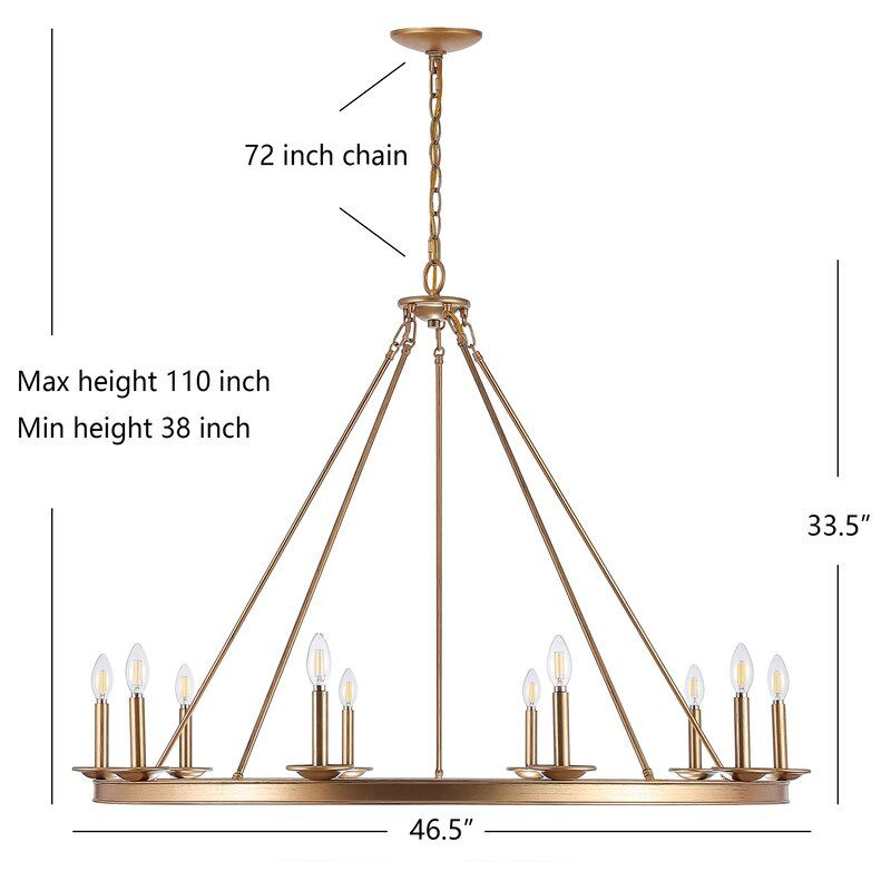 Natividad 10 Light Candle Style Wagon Wheel Chandelier In 2020