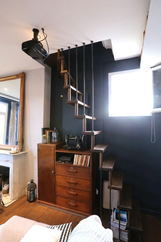 echelle de meunier vintage en bois plus d 39 informations. Black Bedroom Furniture Sets. Home Design Ideas