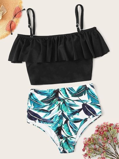 86d412a27a Flounce Bardot Top With Random Leaf Print Bikini in 2019 | Colorful ...