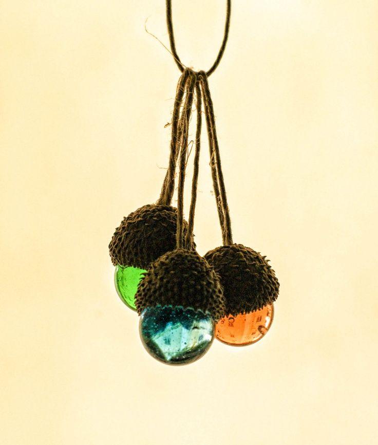 rustic nature ornaments | ... Ornaments, Natural Ornaments, Glass Marble Acorn Ornament, Rustic Chic