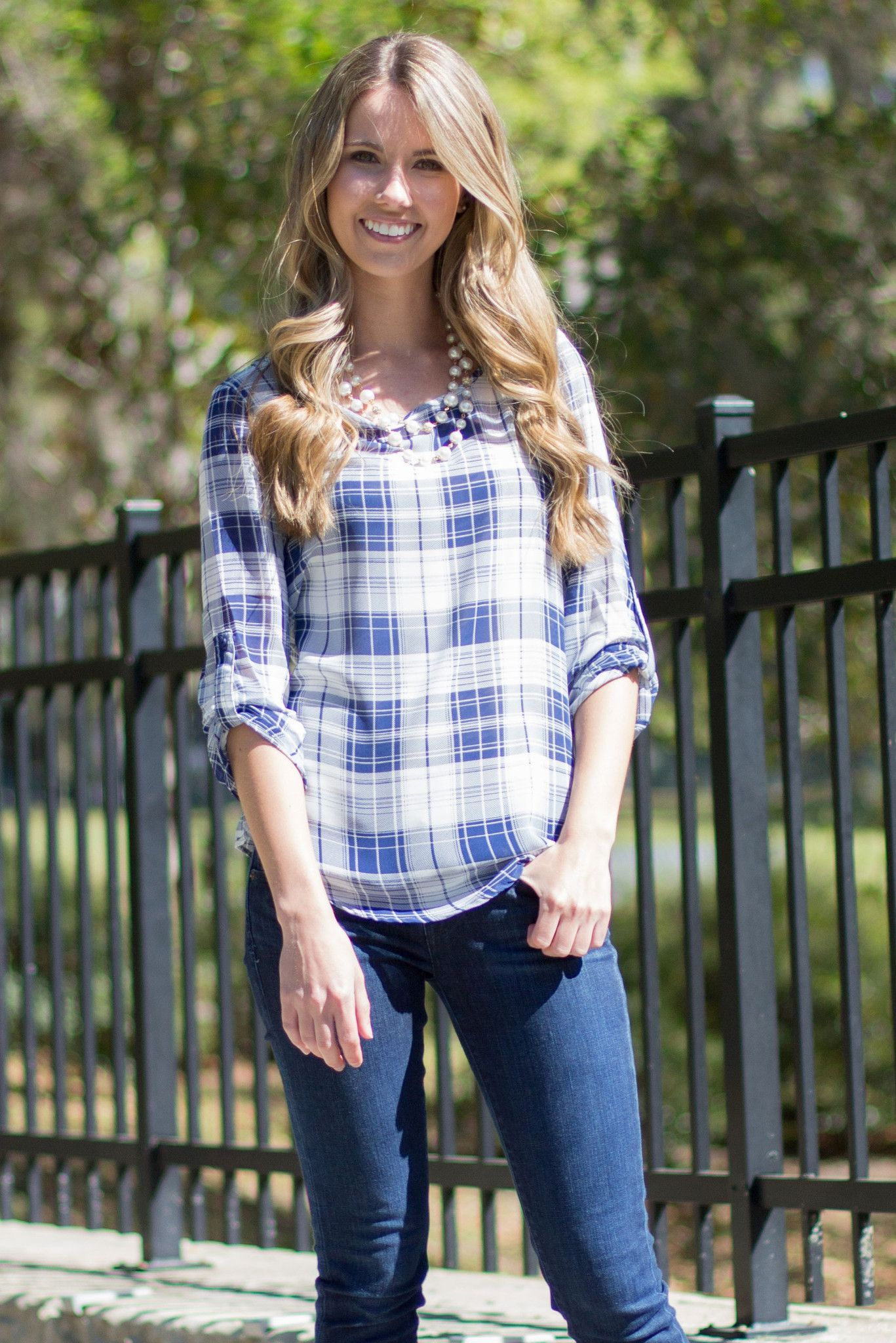 Country Girl Plaid 3/4 Roll Tab Sleeve Blouse in Navy