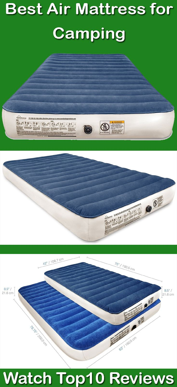 SoundAsleep Camping Series Air Mattress with Included Rechargable