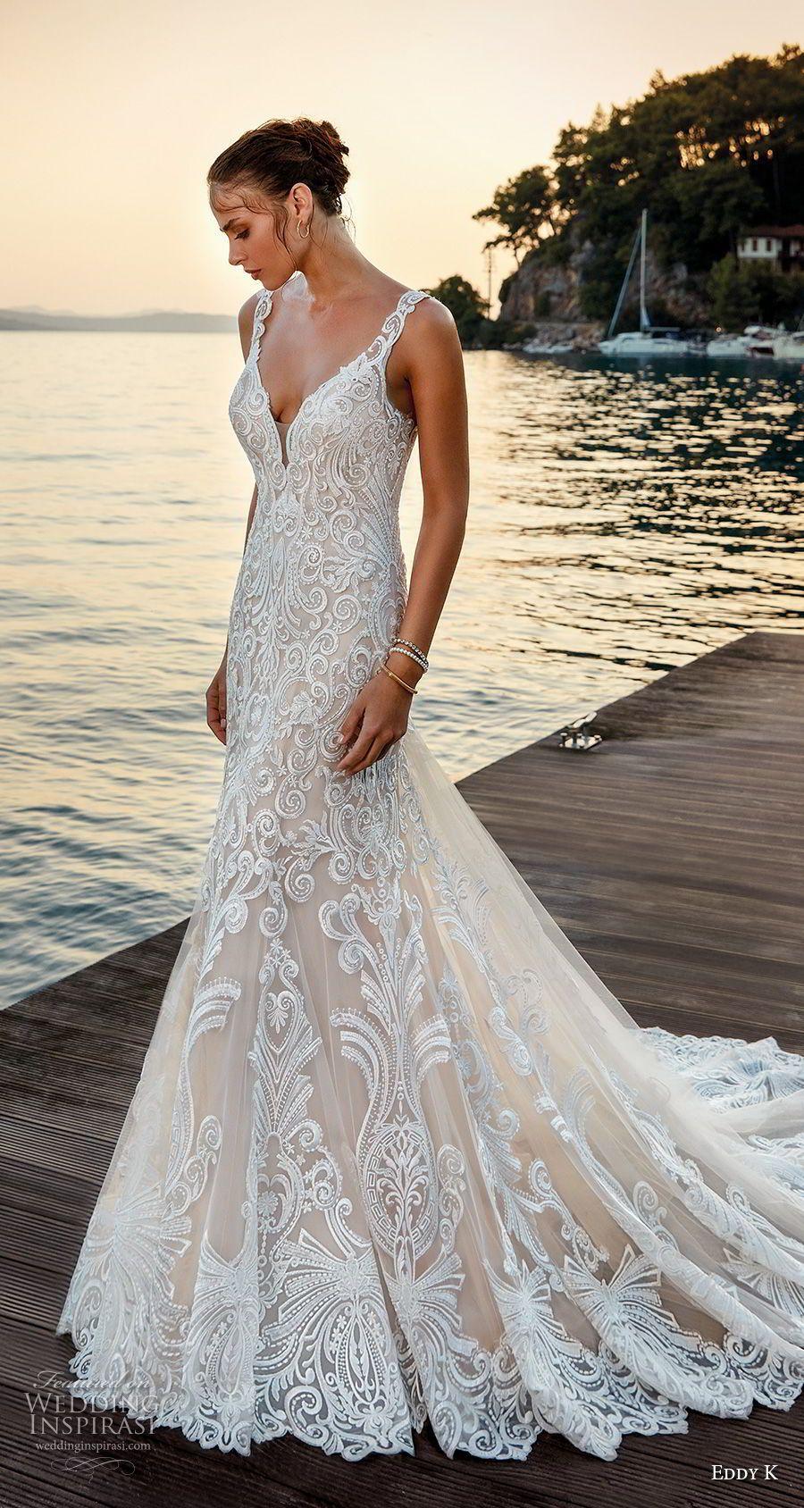726a7c406642 eddy k 2018 bridal sleeveless with strap v neck full embellishment elegant  trumpet wedding dress sheer lace back chapel train (27) mv -- Eddy K. Dreams  2019 ...
