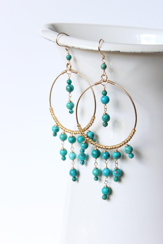 Chandelier Earrings  Bohemian Earrings In Gold And Turquoise, Via Etsy