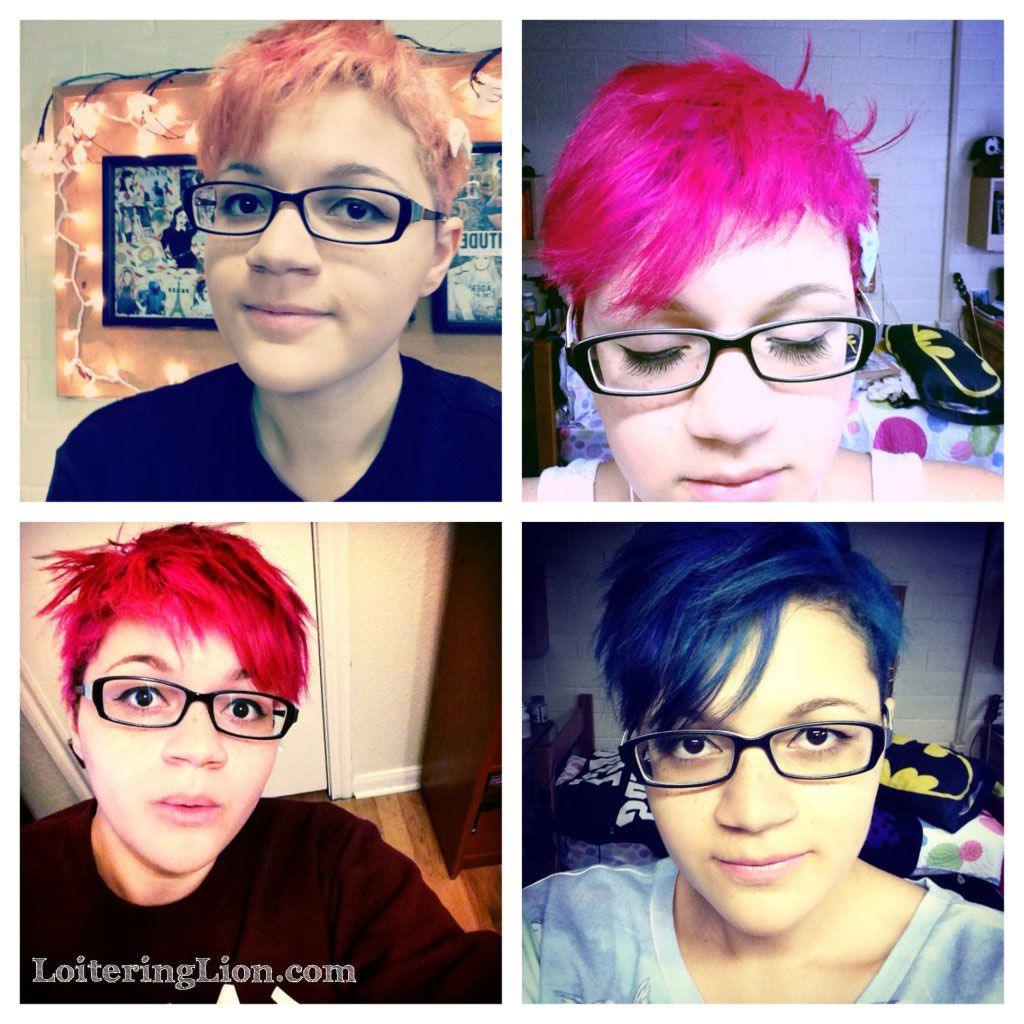 Taking Care Of Temporarily Dyed Hair Tips - Loitering Lion | Pixie cut in all different colors