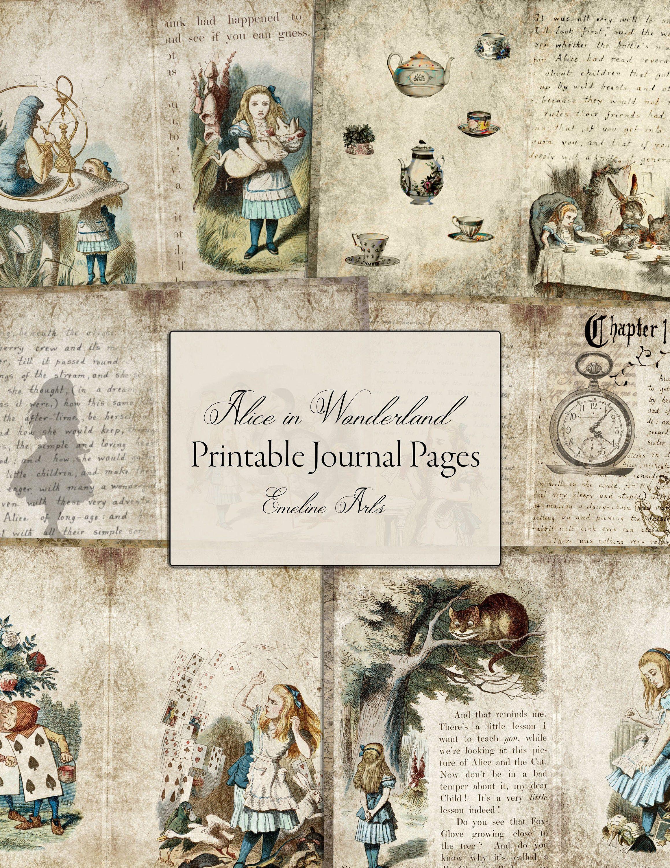 Junk Journal Kit Alice In Wonderland Printable Pages For Etsy In 2020 Junk Journal Vintage Junk Journal Crafts