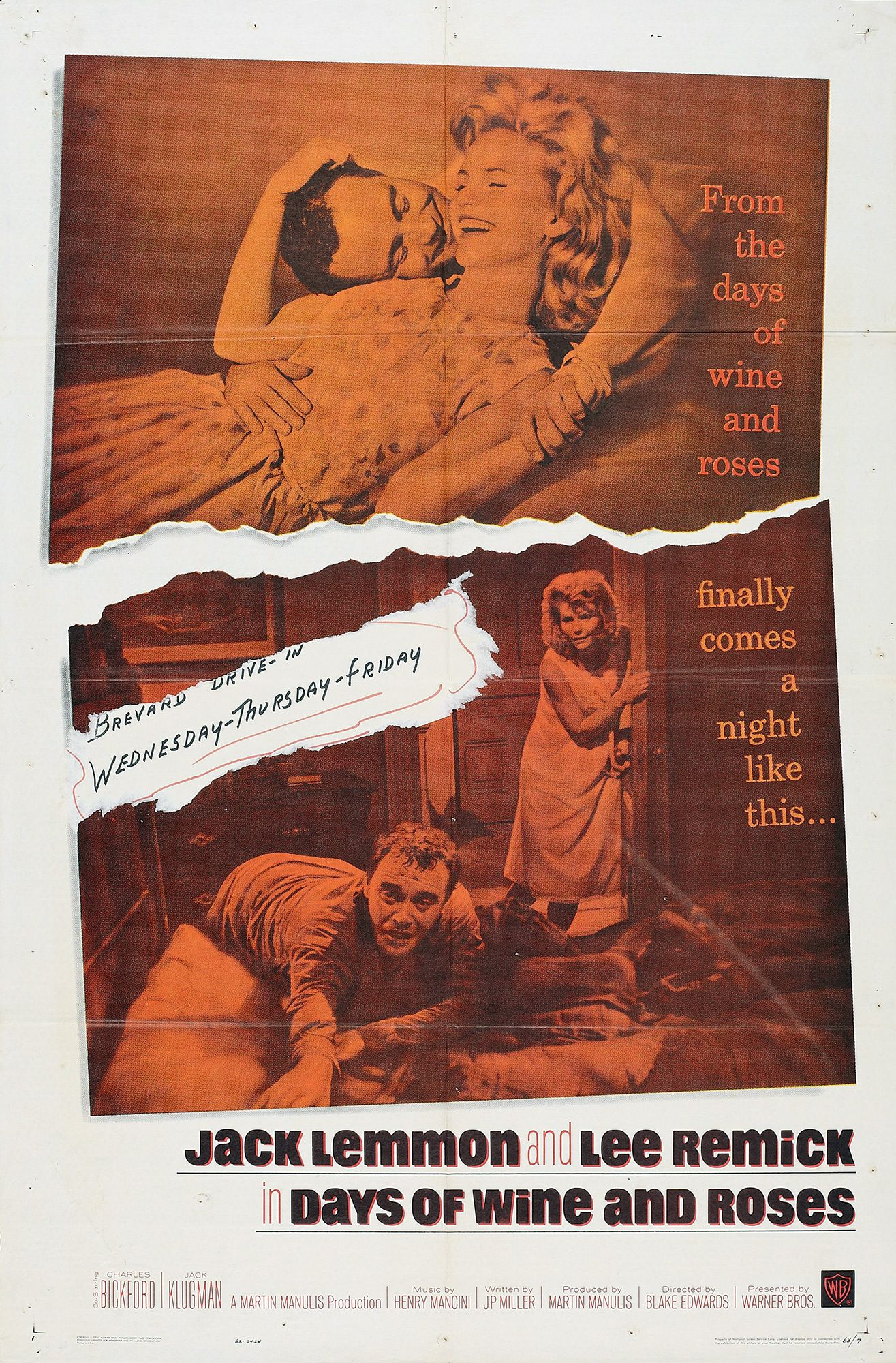 Days Of Wine And Roses 1962 Affiche Cinema Affiche Drame