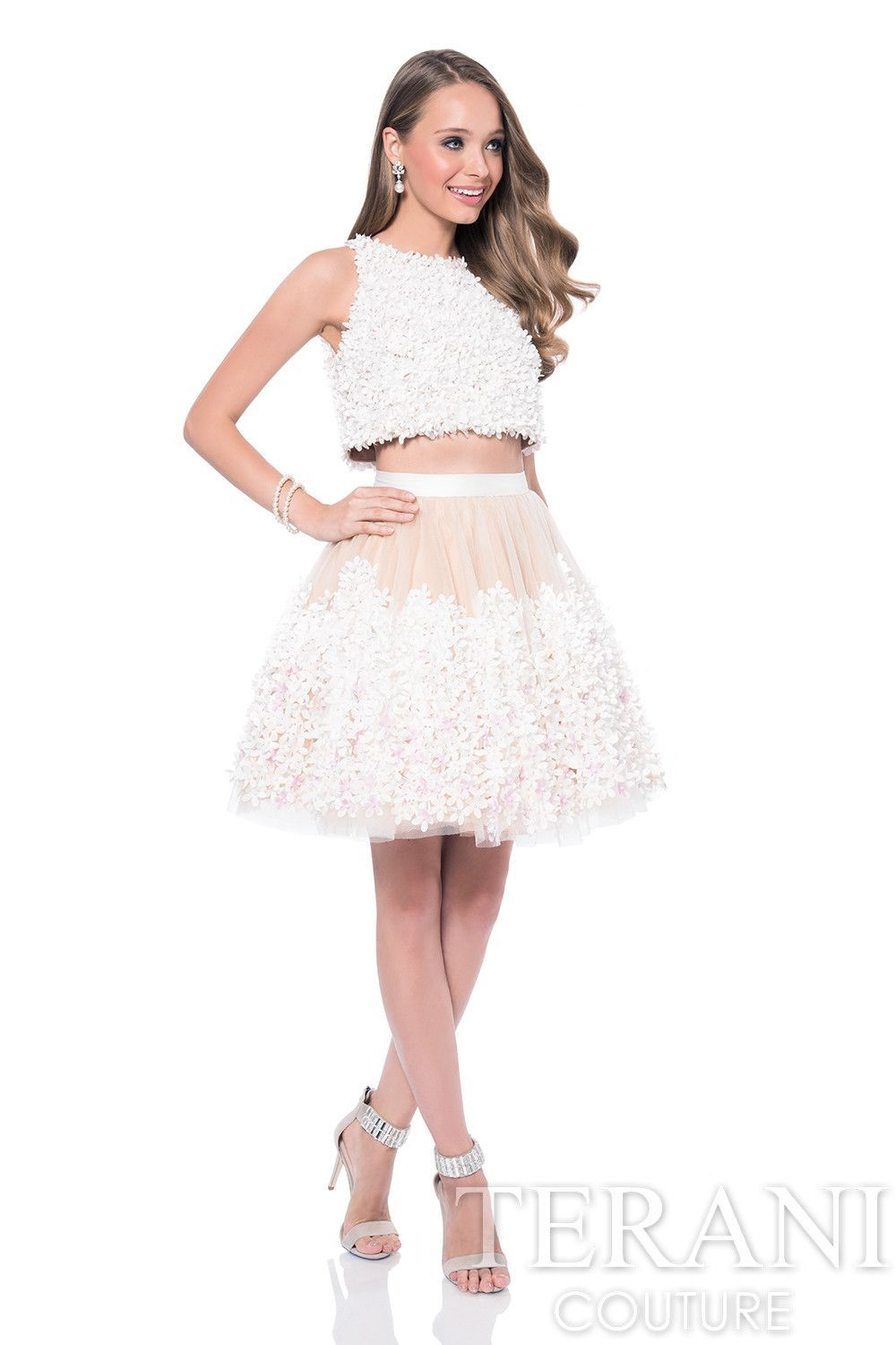 Terani two piece short prom dress with flower petal crop top my