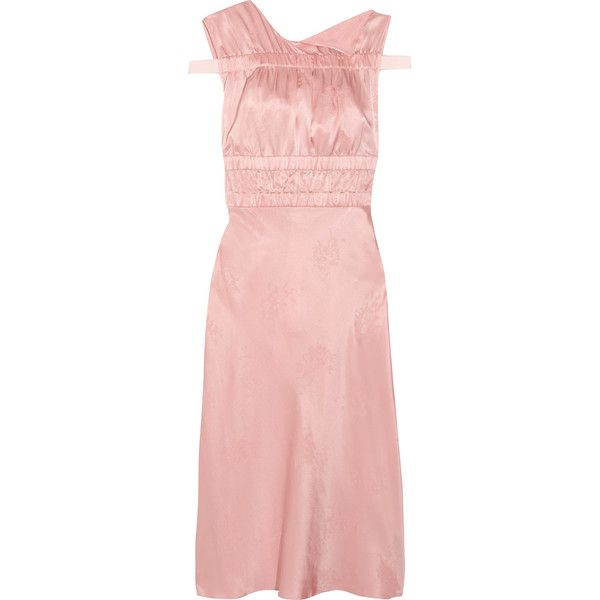 Lambeth Ruched Silk-jacquard Dress - Baby pink Topshop ts63Cp