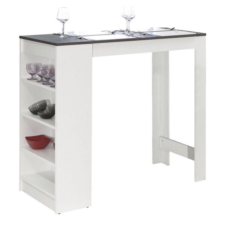 Table De Bar Avec Rangements Pietement Blanc Plateau Effet Beton
