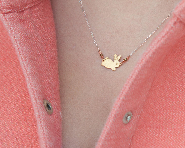 Bitty Brass Bunny Necklace. $30.00, via Etsy. | Easter | Pinterest ...