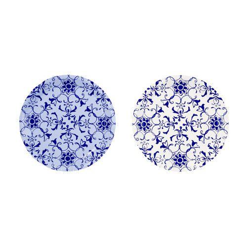Party Porcelain Blue Appetizer Plates