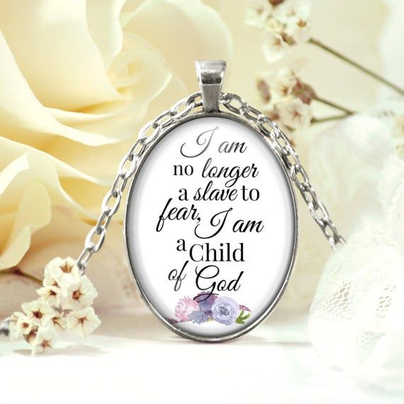 I am no longer a slave to fear Necklace – Bible Verse Necklace – Hymn Necklace – Christian Gift Neck