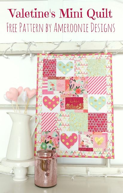 On Trend Valentines Mini Quilt Free Tutorial And Pattern Ameroonie