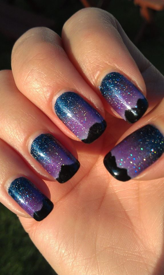 Twilight Nail Art Night Sky Nail Art Star Nail Art Mountain Nail