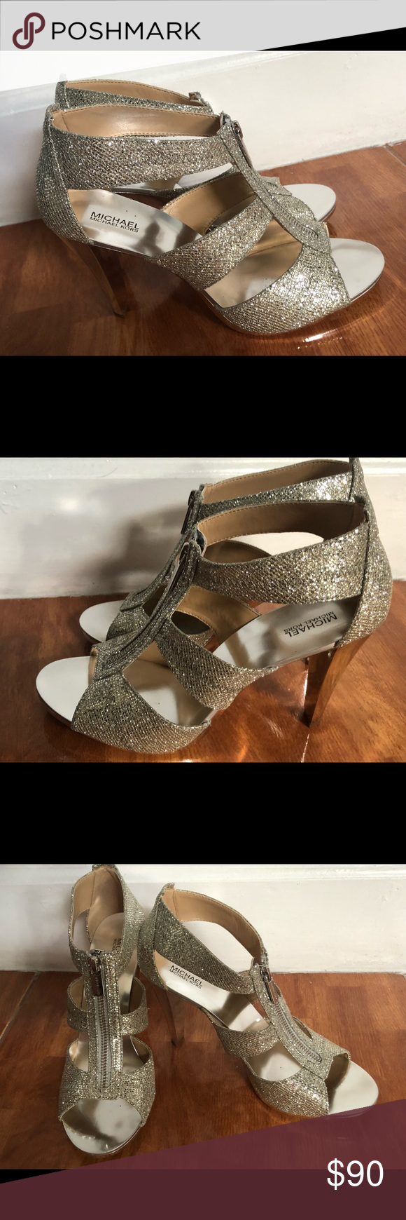 f427202c585 Spotted while shopping on Poshmark  Michael KORS Women Shoes silver Leather  9.5!