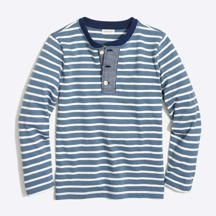 aa271e42 J.Crew Factory Boys' long-sleeve striped henley with chambray placket
