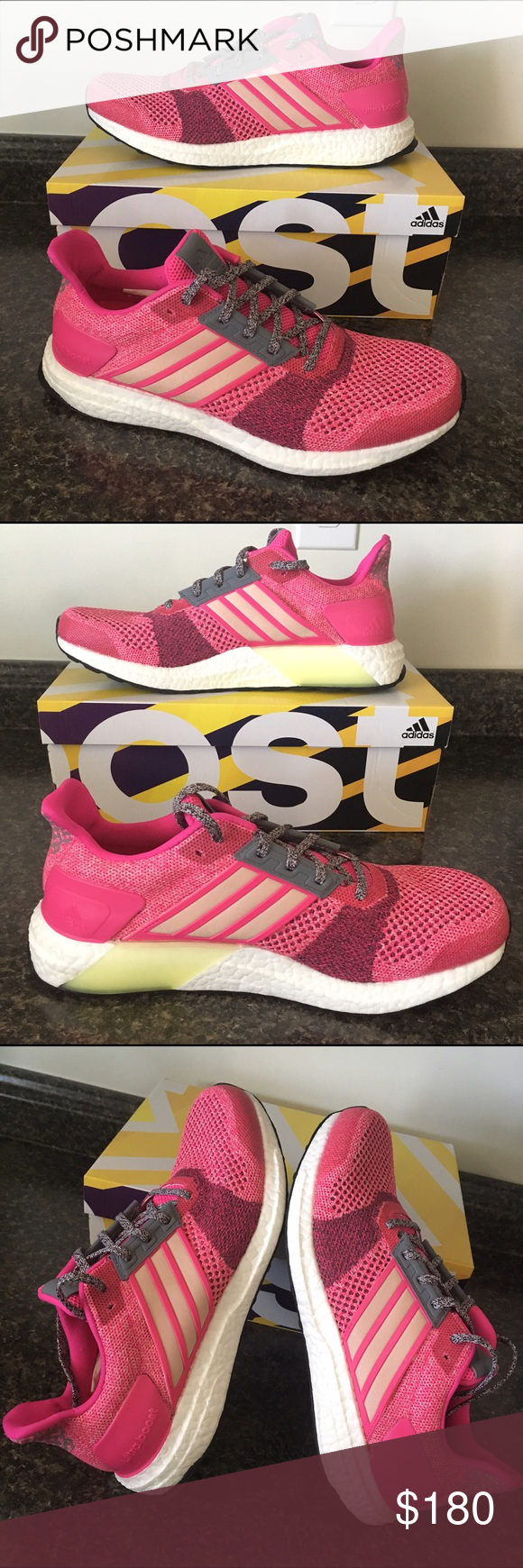 super popular 4d101 121f1 ADIDAS ULTRA BOOST Hot Pink Gold Sparkle Sneakers Brand New With Box 💕  Ultra Cute Adidas