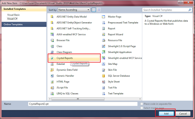 crystal reports example  sample in asp net