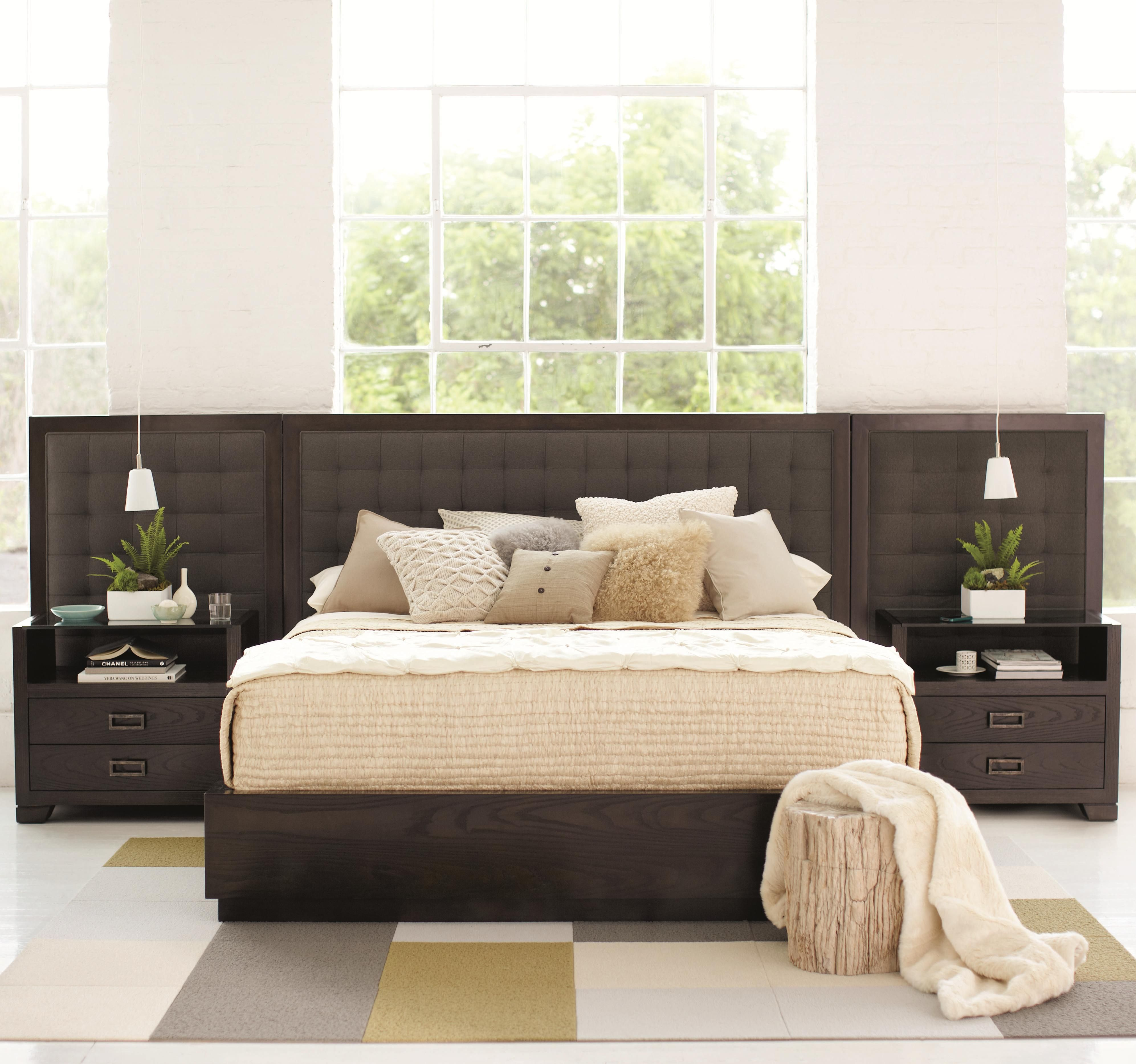 Mercer Upholstered Low Profile King Bed with Bed Panels by Bernhardt