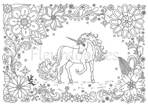 Coloring Page Unicorn Horse Instant Download Unique Hand Drawn Artwork Color Therapy Unicorn Coloring Pages Mandala Coloring Pages Angel Coloring Pages