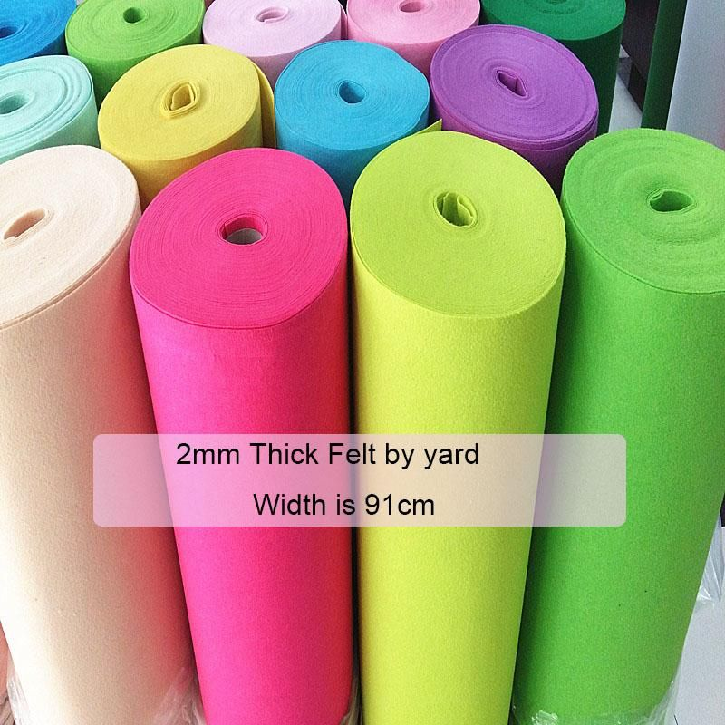 2mm Thick Felt Fabric Handmade Diy Non Woven Cloth Felts Feltro Polyester Fabrics Soundproof Shockproof Material By The Yard Y Arts Crafts Sewing Felt