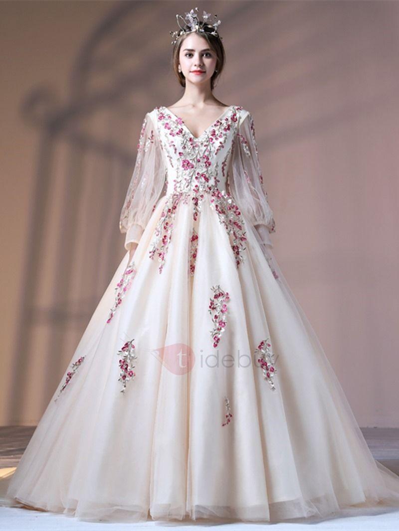 c1d0cc26c2b Attractive Ball Gown Lace-Up V-Neck Appliques Court Train Quinceanera Dress   168.99