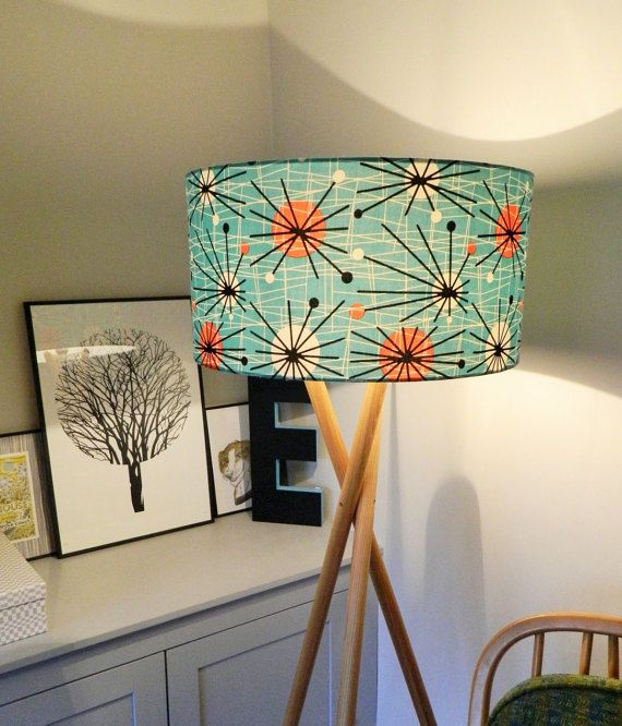 1950s Retro Atomic Fabric Lampshade Fabric Lampshade Cozy Interior Decorating Retro Home