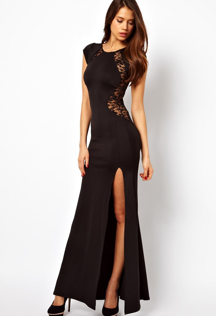 Sexy short sleeve long mermaid dress with lace detail pretty