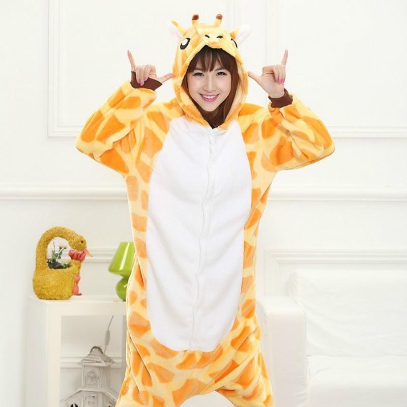 Giraffes for adults flannel anime pajama cartoon unisex