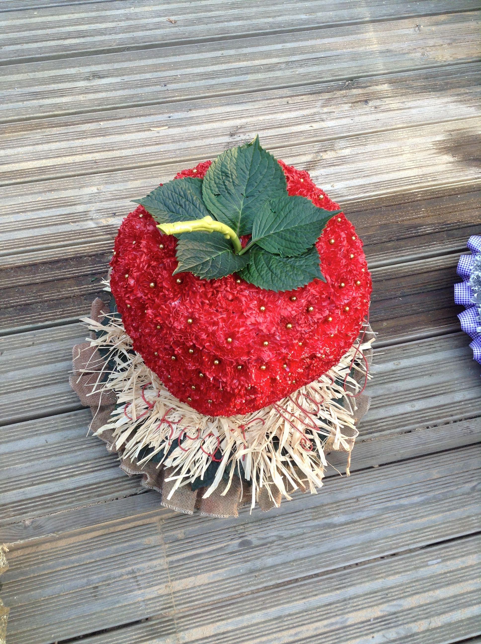 Strawberry funeral flowers tribute, bespoke funeral flower