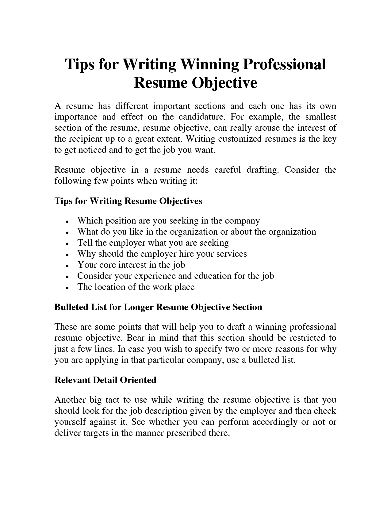 Professional Resume Objective Samplesprofessional Resume Objective