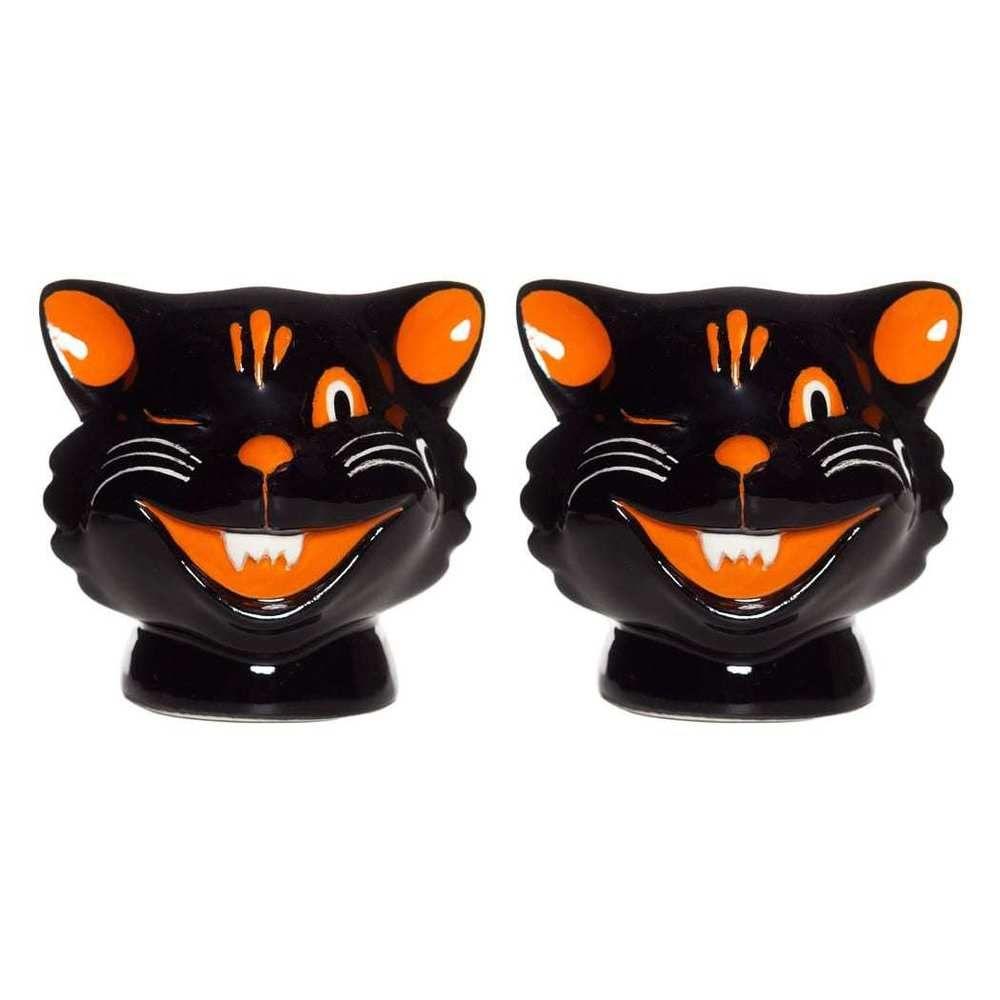 Sourpuss Cats Salt Pepper Shakers Retro Rockabilly Kitsch Kitchen