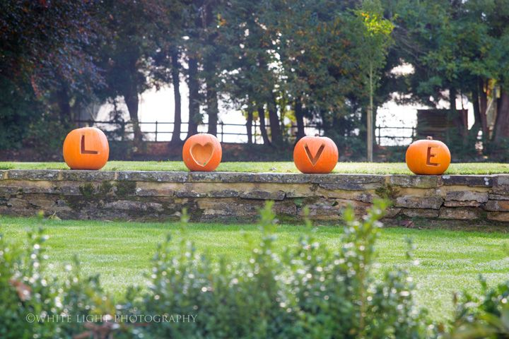 Pumpkins decorated outdoor wedding