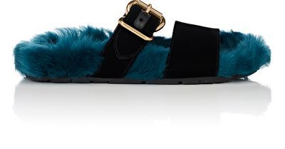 cac5c0a0303 PRADA Fur   Velvet Double-Band Slide Sandals.  prada  shoes  sandals ...