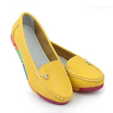 Rainbow Multi-Color Metal Flat Leather Soft Slip On Loafers
