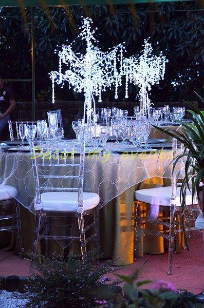 Arbol para centro de mesa con cristales y luz blanca - Cristales para mesa ...