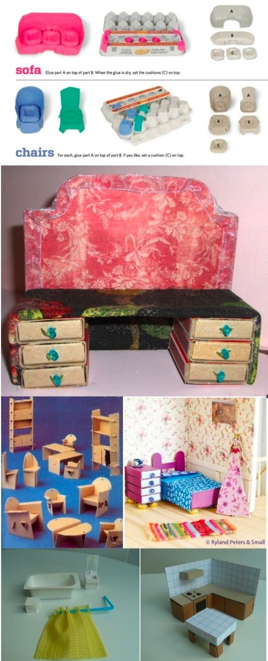 cardboard dollhouse furniture #barbiefurniture