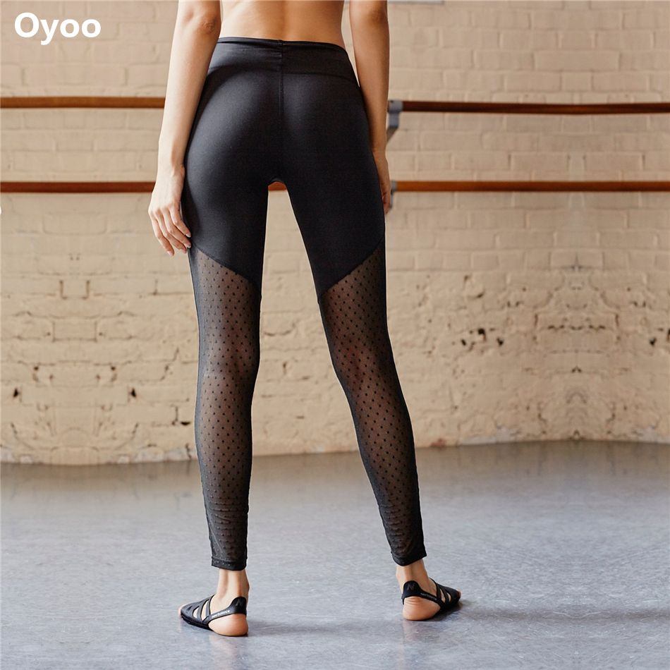 89843052ac19f Oyoo wave mesh tight yoga pants women's compression leggings gym ladies fitness  trousers workout wear elastic sport legging //Price: $US $17.72 & FREE ...