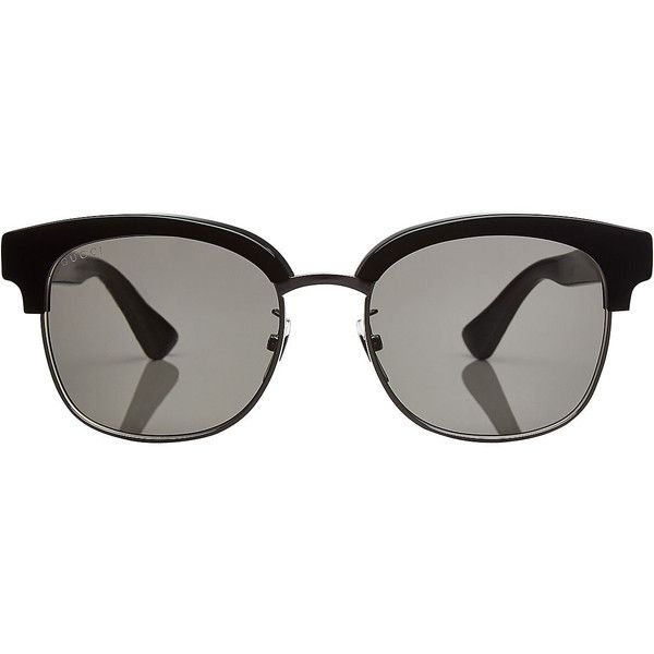 Gucci Clubmaster Sunglasses (840 BRL) ❤ liked on Polyvore featuring accessories, eyewear, sunglasses, glasses, multicolored and gucci mens sunglasses