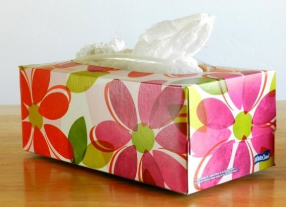 A Tissue Box Can Be Upcycled Into A Trash Bag Dispenser Plastic Bag Storage Tissue Boxes Plastic Bag Holders