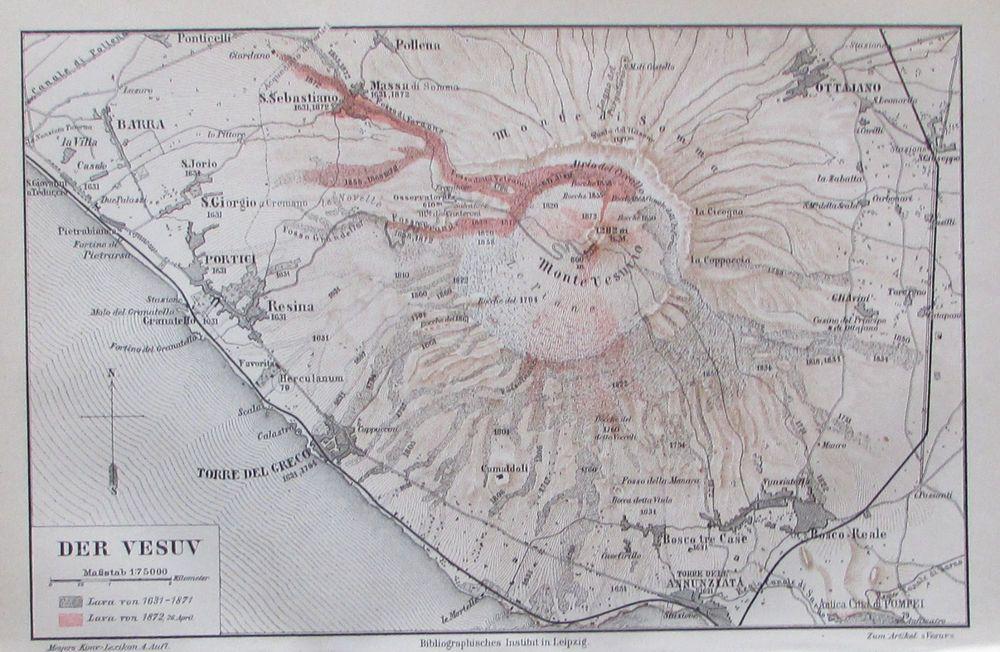 1890 Der Vesuv Alte Landkarte Antique Map Lithographie Italien
