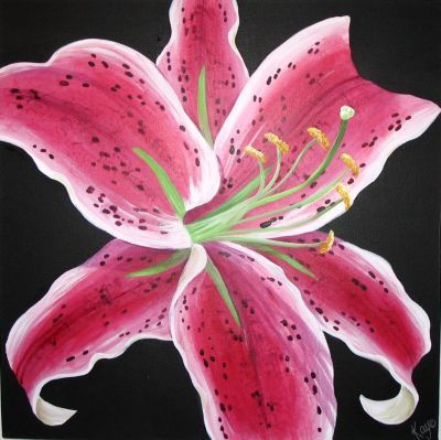 Stargazer Acrylic On Box Canvas Easy Flower Painting Lily Painting Flower Painting