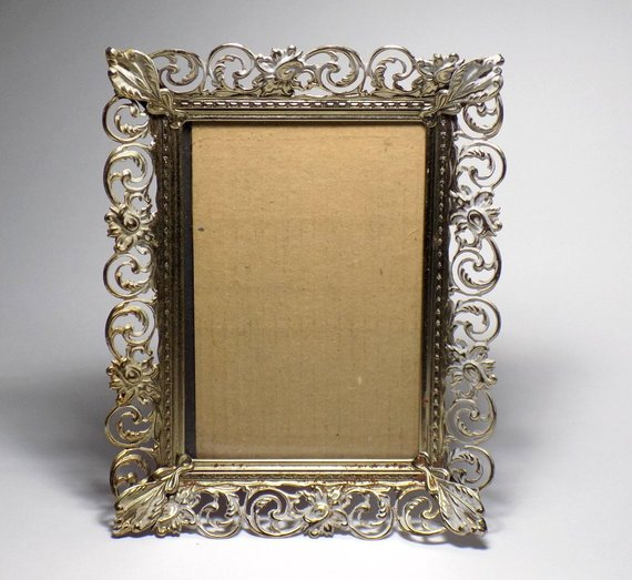 French style Picture small frame Frames with convex glass Danish gold brass frames Photo home decor 8x4 inches Vintage photo frames