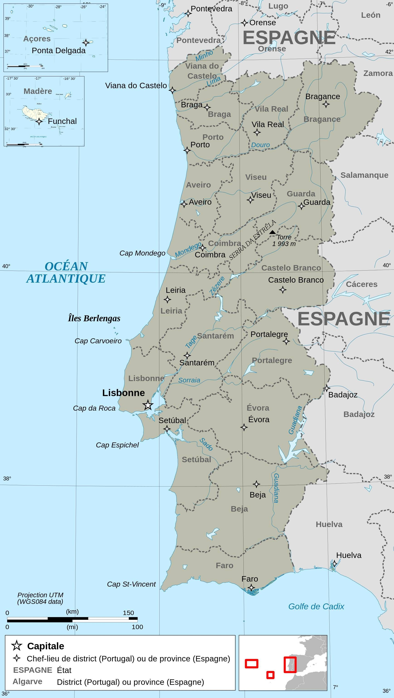 Carte Du Portugal Carte Portugal Portugal Carte Et Plan